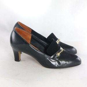 AUDITIONS Black Leather Loafer Style heels.